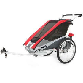 Thule Chariot Cougar 1 - Remolques - + Kit de remolque para bicicleta rojo/Plateado